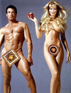 Sylvester Stallone and Claudia Schiffer as Adam and Eve - for Versace - Photo by Richard Avedon - 1995