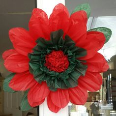 1x large 43cm poinsettia red tissue paper flowerpom pomwedding 1 large 43cm redgreen tissue paper flower by gisellesbloom mightylinksfo