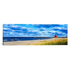 Found it at Wayfair - Panoramic Big Red Lighthouse, Holland, Michigan Photographic Print on Canvas
