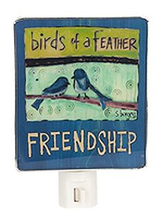 Birds of a Feather Blue Bird Friendship Shade Night Light - By Ganz * Click image for more details. (This is an affiliate link) #NurseryNightLights