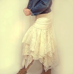 Sooo pretty..!!.. Tattered Lace Skirt Gypsy Hippie Fairytale by GallimaufryClothing, $88.00