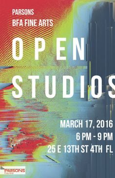 The BFA Fine Arts program is hosting an OPEN STUDIOS event on March 17th from 6-9pm in the Senior Studio spaces located at 25 East 13th Street, 4th floor.  ALL ARE WELCOME.  Come see what our fine arts students are working on as they approach their bfa thesis shows. Works in progress involving painting, sculpture, photography, performance, installation, textiles and video will all be on display for the public this one night only. This event is in conjunction with the MFA Open Studios taking…