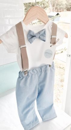Baby boys outfit with blue bowtie, matching shorts/pants and tan children's suspenders and optional matching bunny, shoes, cap Baby Boys, Cute Baby Girl, Toddler Boys, Baby Boy Baptism Outfit, Baby Boy Outfits, Toddler Boy Fashion, Kids Fashion, Chino Style Pants, Shorts
