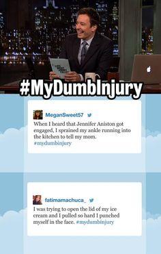 LateNight with Jimmy Fallon LateNight Hashtags. My dumb injury