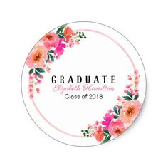 Shop Bright Pink Watercolor Graduation Chic Floral Classic Round Sticker created by StampsbyMargherita. Diy Stickers, Round Stickers, Custom Stickers, Romantic Flowers, Pink Flowers, Watercolor Wedding, Watercolor Flowers, Graduation Stickers, Graduation Gifts