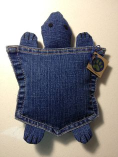 make head & feet w/ fleece scrap ~ Upcycled Denim Pocket Turtle Plush Dog Toy Blue by Ruffelstiltskin