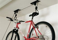 Bicycle Pulley Hoist Bike Lift Cycle Home Garage Storage Rack by Fifth Gear. Bicycle Pulley Hoist Bike Lift Cycle Home Garage Storage Rack. Rack Bike, Bicycle Storage Rack, Bike Hanger, Storage Racks, Hanging Bike Rack, Smart Storage, Garage Velo, Bicycle Garage, Garage Shed