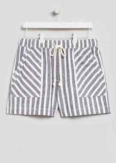 Stripe Linen Shorts View 3