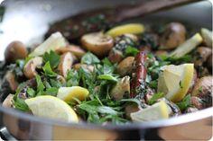 champi marinés grillés cannelle ail persil citron
