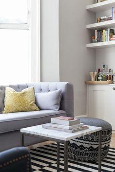 Alice's Persian Grey Flynn Sofa, monochrome carpet, granite table and grey walls. Dream Home Design, My Dream Home, House Design, Home Living Room, Living Room Decor, Granite Table, Pinterest Home, Grey Walls, Furniture Making
