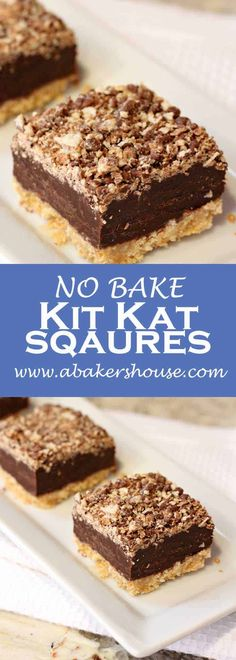 No bake Kit Kat Squares! There is a wafer cookie crust on the bottom, layered next with a chocolate and condensed milk, and topped with a kit kat crumbs. No baking required-- just the microwave and the refrigerator make these beauties! Valentine Desserts, Köstliche Desserts, Delicious Desserts, Dessert Recipes, Spanish Desserts, Sweet Desserts, Brownie Desserts, Birthday Desserts, Holiday Desserts