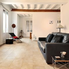 Beautiful, beach coloured tiles in the living room