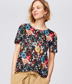 Shop LOFT for stylish women's clothing. You'll love our irresistible Flowerbed Linen Puff Sleeve Tee - shop LOFT.com today!