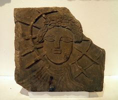 Relief of Sol (the Sun) from the temple of Jupiter Dolichenus found reused in the floor of the east Granary, Corbridge Museum |