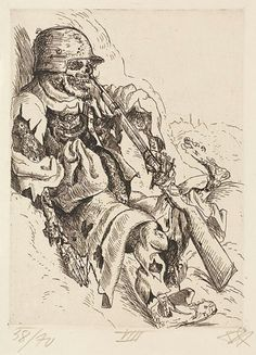otto dix Otto Dix, Dead Sentry in the Trench (Toter Sappenposten) from The War (Der Krieg), 1924. Etching and drypoint from a portfolio of fifty etching, ...