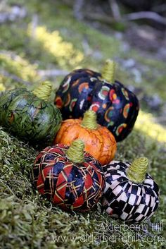 Fabric Covered Pumpkins using Mod Podge / can use dollar store plastic pumpkins too