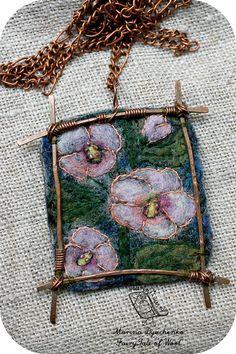 The landscape pendant Hollyhock  Felted pendant by MarinaDyachenko