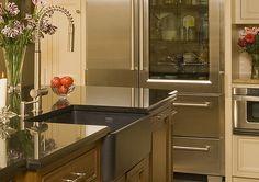 Kitchen decor, Kitchen designs, Kitchen decorating ideas - Love the look of the Franke matte black fireclay sink in the Kitchen Pantry, Kitchen Decor, Kitchen Cabinets, Kitchen Appliances Brands, Fireclay Sink, French Door Refrigerator, Countertops, Franke Sink, Sweet Home