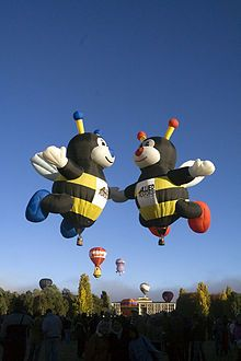 Creative hot air balloons shaped like honey bees. They are usually at the Albuquerque Balloon fiesta. Air Balloon Rides, Hot Air Balloon, Albuquerque Balloon Fiesta, Air Balloon Festival, Balloon Pictures, Air Ballon, Big Balloons, Balloon Shapes, Creative