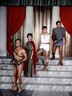 Kirk Douglas, Jean Simmons, Tony Curtis & John Ireland publicity photo for Stanley Kubrick's Spartacus (1960)