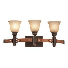 Kalco Rodeo Drive 3 Light Vanity Light Finish: Black, Shade Type: Iridescent Shell - NS14 Natural