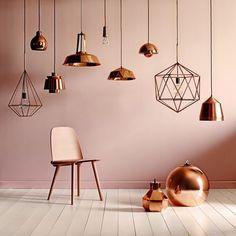 Diferentes diseños de lámparas de cobre