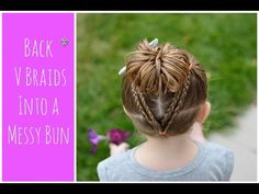 Kids Hair Braid Style: Braided V's and Side Ponytail - YouTube