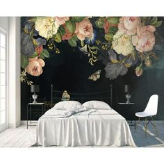 House of Hampton Dark Floral Oil Painting Peony Flower Textured Wall Mural Wallpaper Size, Rose Wallpaper, Large Floral Wallpaper, Flower Mural, Flower Texture, Pink Peonies, Looks Cool, Textured Walls, Wall Prints