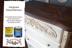 Rehab to Fab, https://www.facebook.com/RehabtoFab?fref=ts, pumped up the appeal factor on this dresser with GF Java Gel Stain topped with Arm-R-Seal and Van Dyke Brown Glaze Effects helps bring out the details of the drawer.
