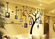 Discount -Photo Frame wall decal, Family Tree wall stickers,Tree wall decal sticker, Vinyl art wall decals, Home decor Family Tree Wall Sticker, Tree Wall Art, Family Wall, Vinyl Wall Art, Wall Decal Sticker, Wall Stickers, Tree Art, Black Wall Art, Frames On Wall