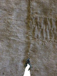 A Very Tattered and Worn Boro Okuso Cloth Apron: Woven Hemp Waste Fibe Visible Mending, Embroidered Badges, Textiles, Traditional Japanese, Darning, Boro, Wabi Sabi, Hemp, Stitches