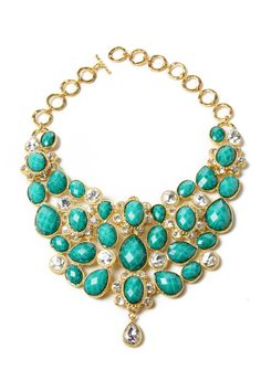 Amrita Singh Crystal South Fork Bib Necklace In Turquoise