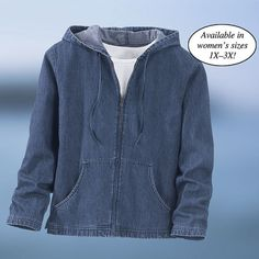 Zip Front Denim Hoodie - Gifts, Clothing, Jewelry, Home Decor and Home Furnishings as Featured in Popular Catalogs   Catalog Favorites