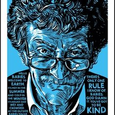 """Got To Be Kind"" Kurt Vonnegut silk-screened art print by Tim Doyle/ Nakatomi on the redditgifts Marketplace"
