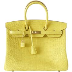 Preowned Hermes Birkin 35 Bag Matte Alligator Mimosa Gold Hardware... ($105,750) ❤ liked on Polyvore featuring bags, handbags, hermes, multiple, beige handbags, clear purse, alligator bag, pre owned purses and clear handbags