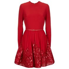 Elie Saab Embellished Fit and Flare Dress featuring polyvore, women's fashion, clothing, dresses, vestidos, short dresses, red, sequin cocktail dresses, short beaded dress, red mini dress, sequin dresses and fit and flare dress
