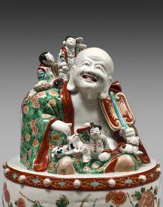 Asian Art & Antiques  - A pair of Imari porcelain Putai sit on drum, Japan, Edo period, Genroku era