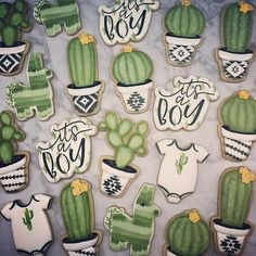 The rest of the cactus baby shower set! I love how easy those lettered stencils make decorating! Baby Cookies, Baby Shower Cookies, Cute Cookies, Sugar Cookies, Horse Cookies, Baby Shower Cupcakes Neutral, Baby Shower Gender Reveal, Baby Shower Themes, Baby Shower Decorations