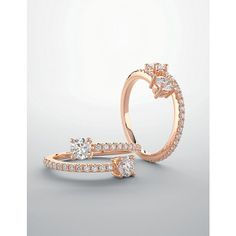 Bypass Ring  14k Rose Gold with Simulated by JosephDiamonds