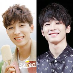 The difference between Wonwoo now & before.  I'm crying now.  My baby lose a…