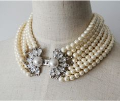 alloy luxury pearl necklace  pearl necklace  bride by B2C2 on Etsy, $41.96