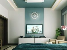 Feng shui history begins some six thousand years ago, emerging from the Chinese practice of philosophy, astronomy, astrology, and physics. The primary purpose of the feng shui art is the… Blue Accent Walls, Accent Wall Colors, Accent Walls In Living Room, Accent Wall Bedroom, Teal Accents, Wall Colours, Teal Colors, Color Blue, Feature Wall Bedroom