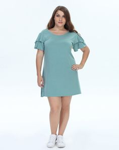 Green Ruffle Sleeve Plus-size Shift Dress