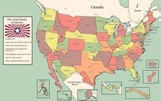 The Great United States of America : imaginarymaps Alternate Worlds, Alternate History, Revolution Tv Show, Imaginary Maps, North America Map, Chicago City, Fantasy Map, Fantasy Setting, Country Art