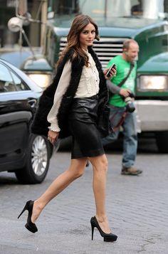 leather skirt + fur