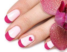 Pink Tips Heart Nail Art