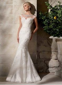 Trumpet/Mermaid Scoop Neck Sweep Train Tulle Lace Wedding Dress With Beading