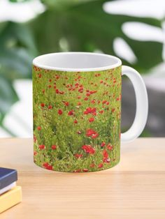 """""""Red Poppies of Tuscany"""" Mug by lenzart 