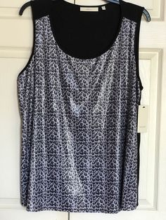 SEJOUR Black Gray Embellished Animal print Tank Top Size 3X PLUS NWT NEW #SEJOUR #TankCami #Casual
