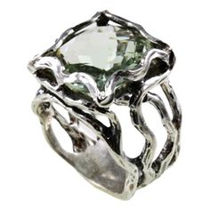 Green Amethyst Openwork Sterling Silver Ring Silver Rings